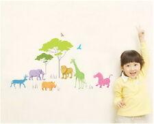 Colorful animal safari Tree Wall Decals Removable sticker kids nursery Decor