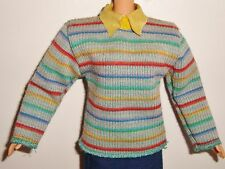 Vêtement vintage 70 80's pour poupée mannequin haut, pull rayé avec col jaune