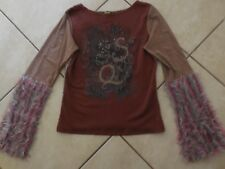 Save The Queen L LS Top With Furry Sleeves Made in Italy Hand Wash Rare EUC