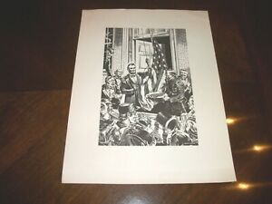 Vintage Woodblock Print ROLAND HARPER President Lincoln After Civil War Victory