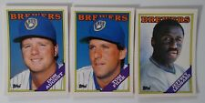 1988 Topps Traded Milwaukee Brewers Team Set of 3 Baseball Cards