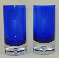 "2 BLOCK Stockholm Crystal Glasses Cobalt Blue Highball Tumbler 6 3/8"" Multiples"