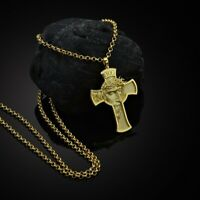 Faith Stainless Steel Plated Gold JESUS CROSS Pendant Necklace Black Chain Gift