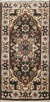 Geometric BROWN/ IVORY Heriz Oriental Area Rug Wool Hand-Knotted 2x4 ft Carpet