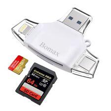 4 in 1 SD Card Reader TF card reader & USB C Card Reader Memory Card Camera New