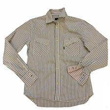 Men's White & Grey Paul Smith Shirt Medium Medium  Pearl Snap