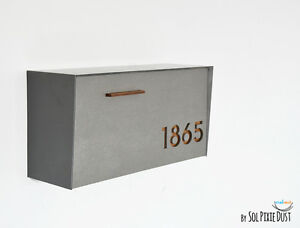 Modern Mailbox with Concrete Face,Wall Mounted Mailbox, Dark Oak - Type 3