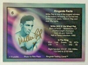 "SHARP 1996 RINGSIDE ""SPOTLIGHT GOLD"" WILLIE PEP AUTOGRAPH BOXING CARD ~ CASE HIT"