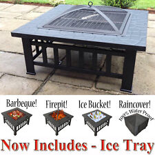 3 in 1 Outdoor Garden Fire Pit BBQ Firepit Brazier Square Stove Patio Heater New