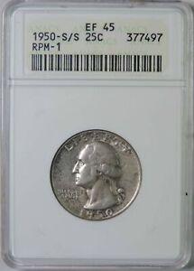 1950 S/S Washington Silver Quarter Coin RPM-1 ANACS EF45 Old Holder