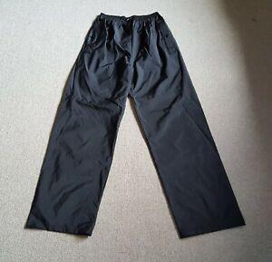 Mens Rain Pants-COLUMBIA-black 100% PVC rain protection pull-on elastic waist-S