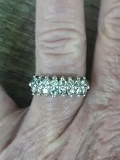 Vintage Avon Sterling Silver White Topaz Signed GV or GY Ring Sz7.5