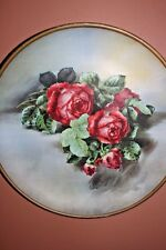 """VINTAGE METAL WALL HANGING  ROSES PICTURE 17.5"""" ROUND"""