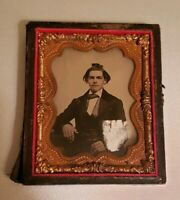 Antique Victorian ambrotype? Painted Young Man Photograph