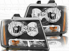 07-14 Avalanche Tahoe/Suburban for Chevrolet Black Headlights Clear Lens