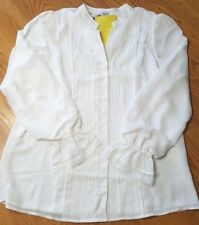 Victor Costa Occasion NWT Pintuck Blouse Womens Large Ivory White w Black Belt
