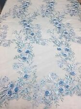 Light Blue Metallic 3D Magical Flowers Embroider With Rhinestones On A Mesh Lace