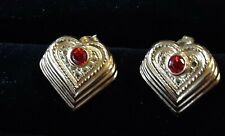Earrings With strawberry garnet accents New listing 14K Yellow Gold Heart Chevron