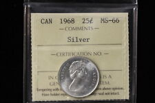 """1968 Canada. 25 Cents. """"Silver"""". ICCS Graded MS-66. (XAH258)"""