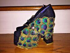 IRREGULAR CHOICE Brooch Gem PEACOCK Feather Womens Wedge High Heel Shoes SZ 5.5