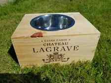 Reclaimed wooden wine box PET FEEDER BOWL / Station for dogs & cats - Medium
