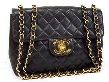 100% AUTH CHANEL BLACK LAMB VINTAGE JUMBO XL SHOULDER BAG W30 N658