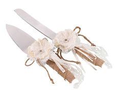 Burlap and Lace Knife & Server wedding
