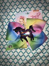 Large Jojo Siwa Hair Bow Pastel Rainbow Unicorn Mermaid Flip Sequin Silver Multi
