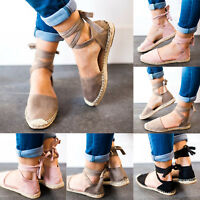 Womens Ladies Low Heel Wedge Close Toe Sandals Espadrilles Summer Beach Comfy