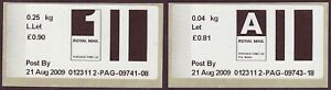 2009 early Post & Go type stamps. 1st large Letter & Airmail Letter rates.