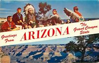 Old Chrome Postcard Arizona I013 Greetings from AZ Grand Canyon State Multiview