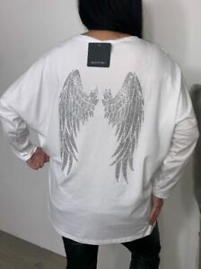 Angel Wings Top Oversized Stretchy Tee Long Sleeved Sparkly 12 14 16 18 - White