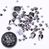 Black 3D Nail Rhinestones Flat Back Mixed Shape  Decoration Tips Tool