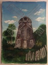 Original Painting Windmill Forest Trees Green Fence Grey Grass Sky Blue Door