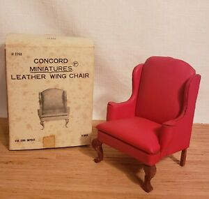 Dollhouse Miniature 1:12 Concord Red Faux Leather Wing Chair
