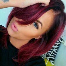 300g/3 bundles virgin brazillian ombre burgundy straight human hair weave 10inch