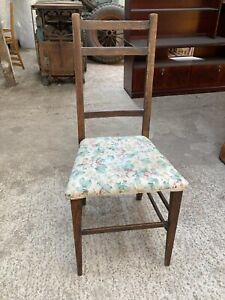 Vintage Antique Bedroom Chair Fabric Seat