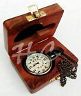 Nautical Brass Pocket Watch W/ Chain Maritime Pandent Clock With Wooden Box