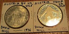 Austria 100 Schilling 1976 Olympic Down Hill Silver Proof & BU 2 Coin # 2928