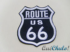 PARCHE TEXTIL BORDADO MOTERO EMBROIDERY PATCH BIKER ROUTE 66 8.5 x 7.5 CM