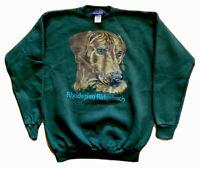 VTG 90s Rhodesian Ridgeback Dog Lover Green Pullover Crewneck Sweatshirt Medium