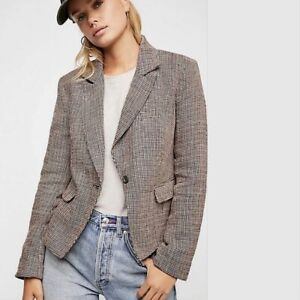 Free People Womens Chess Blazer Jacket Garnet Medium M NWT New
