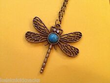 Bohemian Bronze Dragon Fly Pendant and Necklace with Turquoise.