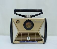 Early Emerson Transistor Radio model 869 Miracle Wand Gold & Blue Case Powers On