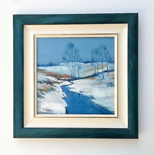 Evening winter landscape / Blue / Original Oil Painting by Hahonin 20x20cm