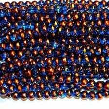 GX1752L 10-Strands Dark Blue 8mm Round Multi-Swirl Metallic Drawbench Glass Bead