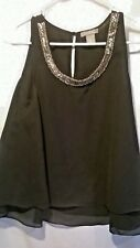 Flattering Black Top, with Beaded Neckline by Angie, Junior Women's Small