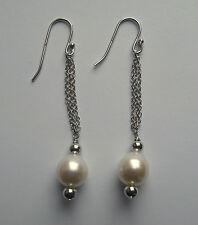 Sterling silver White Freshwater Pearl drop tassel Earrings