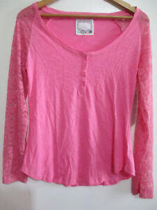 SPLASH Long Sleeve Henley Tee T Shirt Juniors XL Blouse Stretch Top Lace Pink