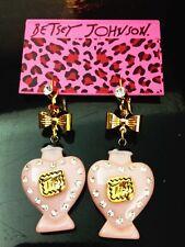 E578 Betsey Johnson Pink Tea Party Lips Perfume Bottle Bow Earrings UK